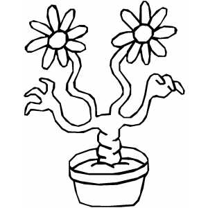 Mutant Plant With Hands Coloring Sheet
