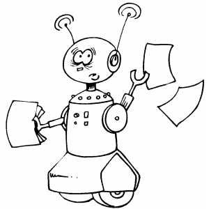 Robot With Papers Coloring Sheet