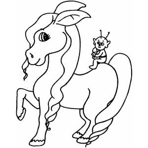 Space Alien On Horse Coloring Sheet