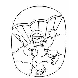 Boy Sky Diving Coloring Sheet