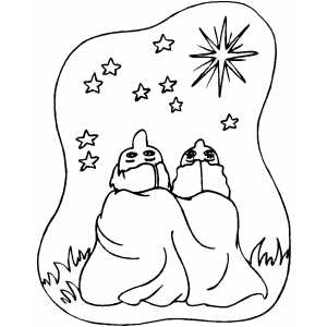 Couple Stargazing Coloring Sheet
