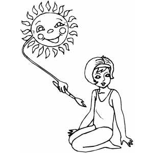 Girl Sunbathing With Sun Coloring Sheet