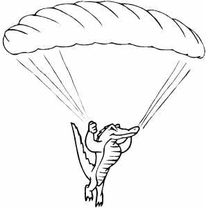 Sky Diving Alligator Coloring Sheet