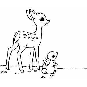 Deer And Rabbit Coloring Sheet
