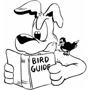 Dog Reading Bird Guide Coloring Sheet