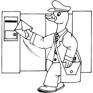 Duck Delivering Mail Coloring Sheet