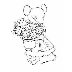 Mouse With Flowers Coloring Sheet