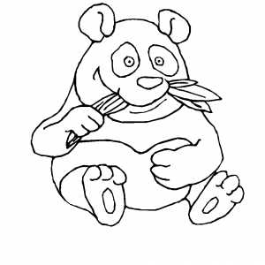 Panda Eating Leaves Coloring Sheet