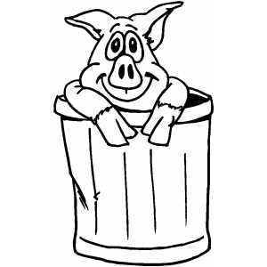 Pig In Trash Can Coloring Sheet