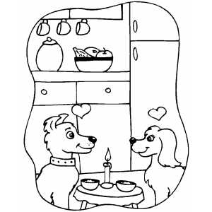 Puppies In Love At Romantic Dinner Coloring Sheet