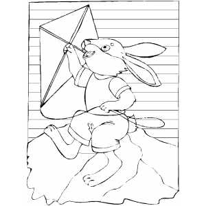 Rabbit Flying Kite Coloring Sheet