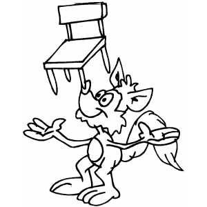 Squirrel Balancing With Chair Coloring Sheet