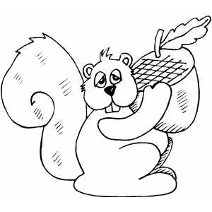 Squirrel With Acorn Coloring Sheet