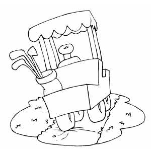Golfer Cart Coloring Sheet