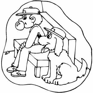 Softball Player And Dog Coloring Sheet