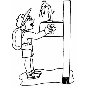 boy at drinking fountain coloring sheet
