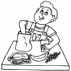 Boy Prepared For Lunch Coloring Sheet
