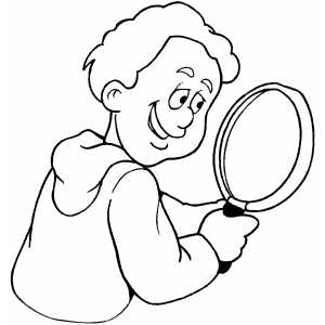 Boy With Magnifying Glass Coloring Sheet