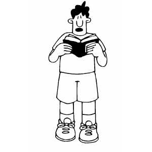 Confused Boy Studying Book Coloring Sheet