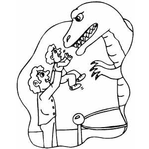Dinosaur At Paleontology Museum Coloring Sheet
