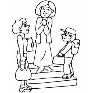 First Day At School Coloring Sheet