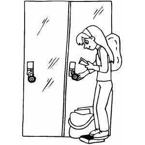 Girl At Locker Coloring Sheet