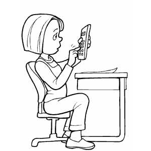 Girl Using Calculator Coloring Sheet