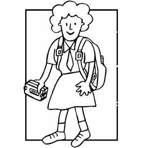 Girl With Lunch Coloring Sheet