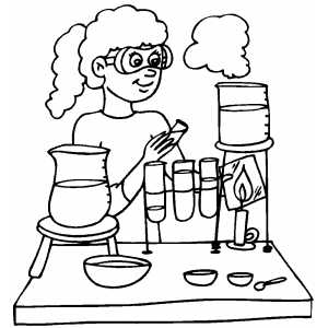 Girls Working At Chemistry Lab Coloring Sheet