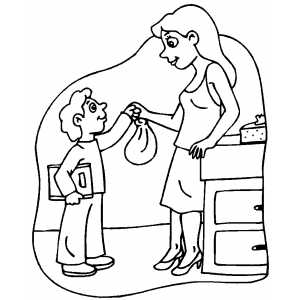 Mom Gives Sack Lunch To Boy Coloring Sheet