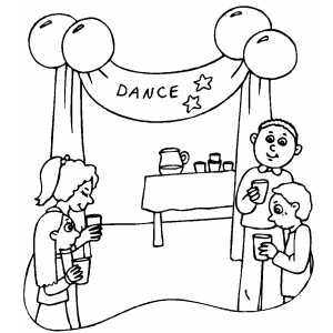 School Dance Party Coloring Sheet