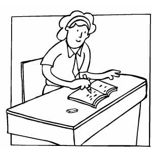 Student Writing At Desk Coloring Sheet