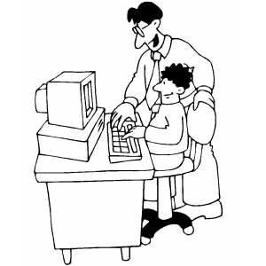 Teacher And Student Working On Computer Coloring Sheet