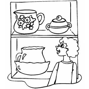 Woman At Pottery Museum Coloring Sheet