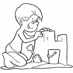 Boy Building A Sand Castle Coloring Sheet