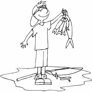 Boy Fishing Coloring Sheet