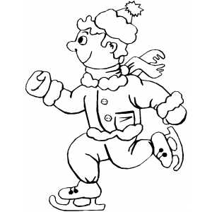 Boy Ice Skating Coloring Sheet