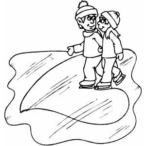 Couple Ice Skating Coloring Sheet