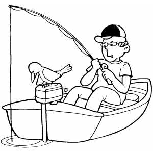 Fishing On Boat Coloring Sheet