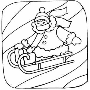 Girl Sledding Coloring Sheet
