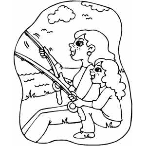 Girls Fishing Coloring Sheet