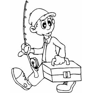 Going Fishing Coloring Sheet