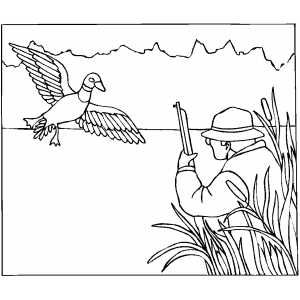 Hunting For Duck Coloring Sheet