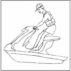 Jet Skiing Coloring Sheet