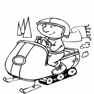 man with scarf on snowmobile coloring sheet
