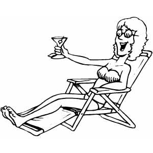 Sunbathing With Martini Coloring Sheet