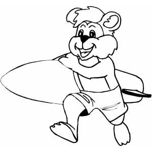 Surfer Bear Coloring Sheet
