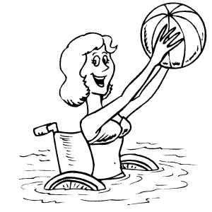 Woman In Water With Ball Coloring Sheet