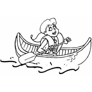 Woman Rowing In Canoe Coloring Sheet